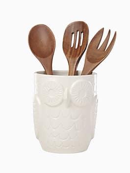 cannon street owl utensil crock with servers, multi, medium