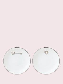 key court tidbits plate set, porcelain, medium
