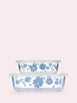 nolita rectangular glass storage set, white, medium