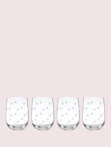 spade clover stemless wine glass set by kate spade new york