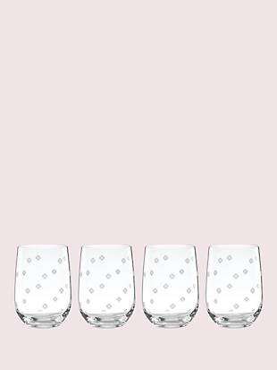 spade clover stemless wine glass set by kate spade new york non-hover view