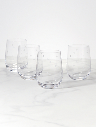 spade clover stemless wine glass set by kate spade new york hover view