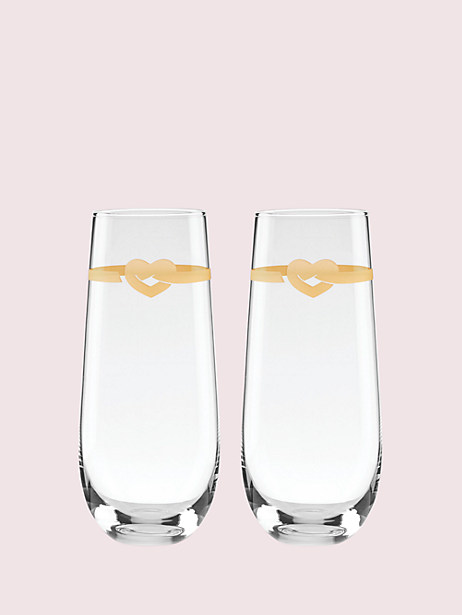 with love stemless toasting flute pair by kate spade new york
