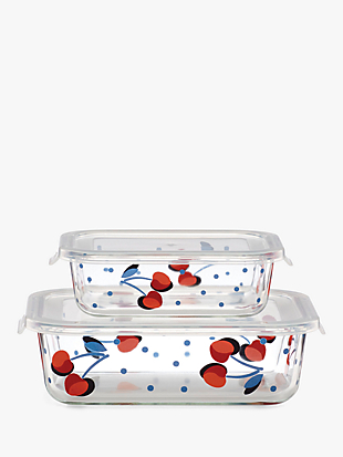 vintage cherry dot rectangular food storage set by kate spade new york non-hover view