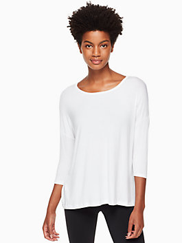 split keyhole 3/4 sleeve pullover, white, medium