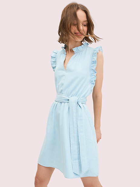 when in an outfit funk: denim is always a good idea. especially when accompanied by ruffles and a flattering self-tie waist. Kate Spade Denim Ruffle Dress, Indigo - Large