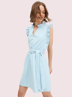 denim ruffle dress by kate spade new york non-hover view