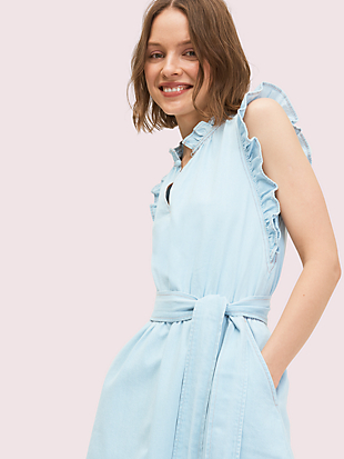 denim ruffle dress by kate spade new york hover view