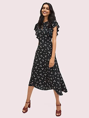 ditsy begonia flutter-sleeve dress by kate spade new york non-hover view