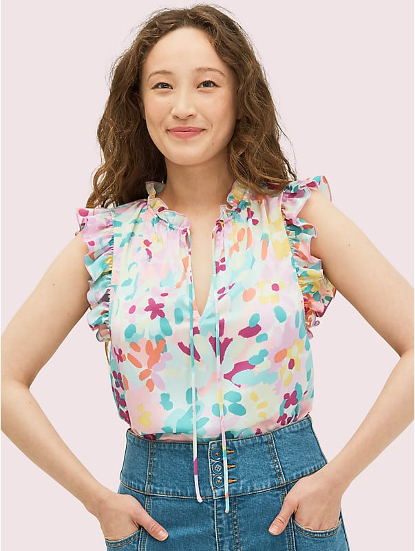 painted petals tie neck shell, , rr_large