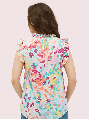 painted petals tie-neck shell by kate spade new york hover view