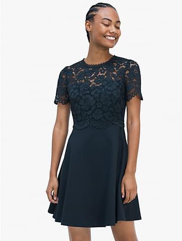 Kleid aus Ponté mit Oberteil aus Rosenspitze, , rr_productgrid