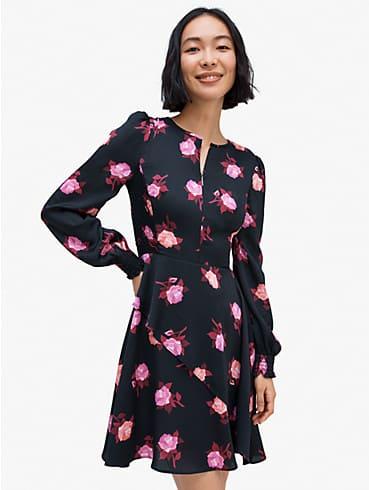 Rose Garden Kleid aus Satin, gesmokt, , rr_productgrid