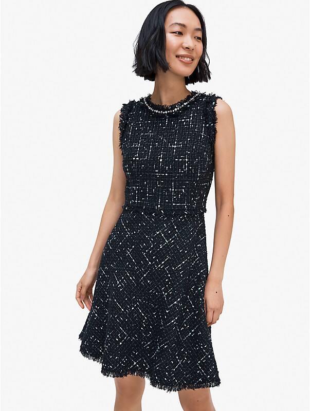 embellished tweed dress, , rr_large