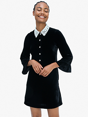 jewel-button velvet shirtdress by kate spade new york non-hover view