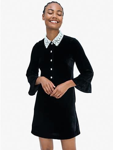 Hemdkleid aus Samt mit Schmucksteinknöpfen, , rr_productgrid