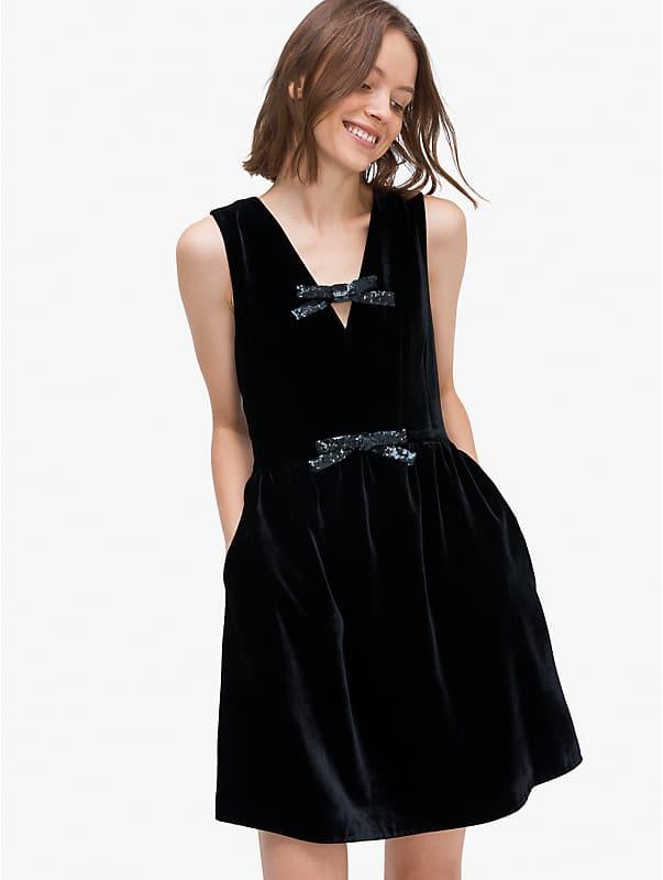 sequin-bow velvet dress, , rr_large