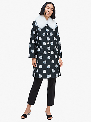 cat dot jacquard removable fur collar coat by kate spade new york non-hover view