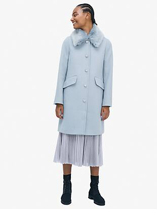 jewel-button metallic twill coat by kate spade new york non-hover view