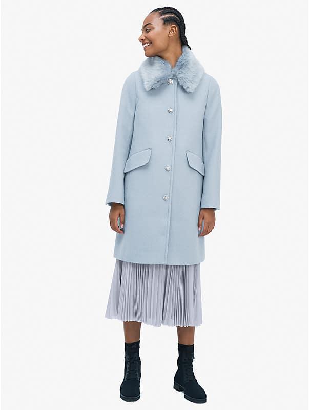jewel-button metallic twill coat, , rr_large
