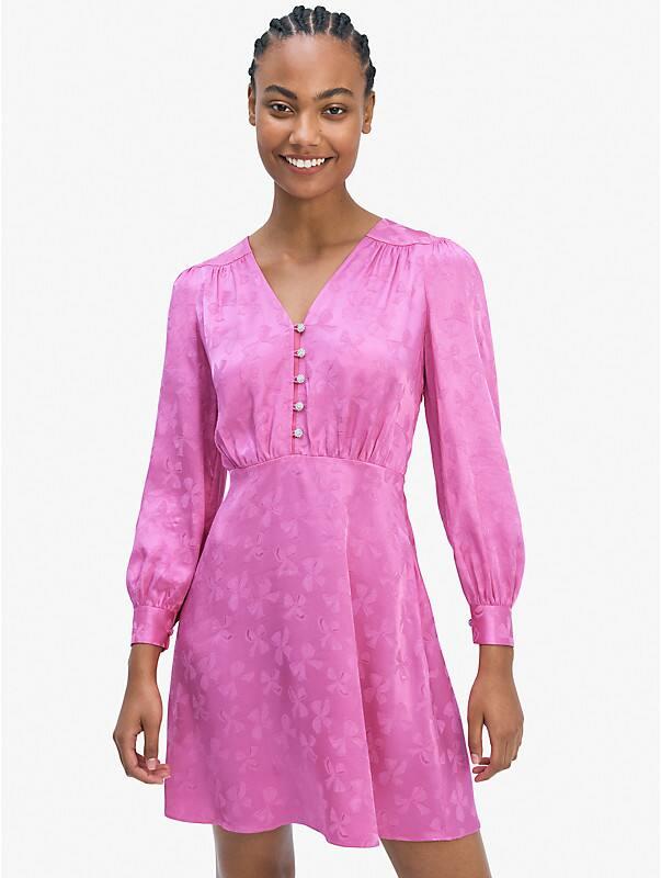 jewel-button jacquard dress, , rr_large