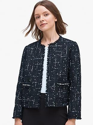 embellished tweed jacket by kate spade new york hover view