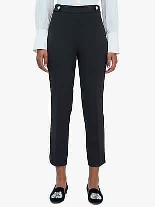 jewel-button crepe pant by kate spade new york non-hover view