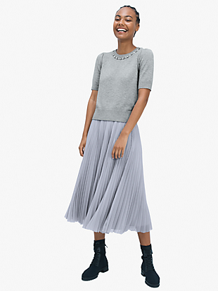 sparkle chiffon pleated skirt by kate spade new york hover view