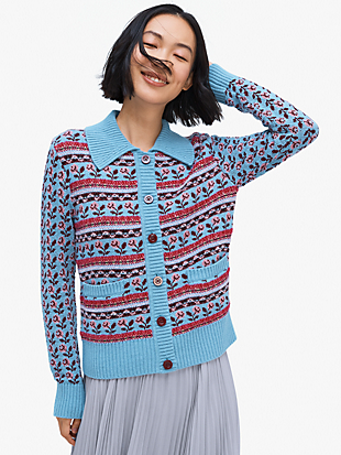 floral fair isle stripe cardigan by kate spade new york non-hover view