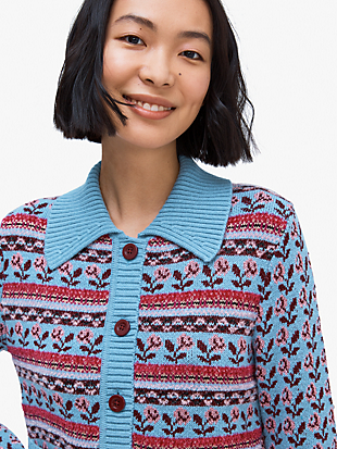 floral fair isle stripe cardigan by kate spade new york hover view