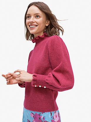 pearl-button cuff sweater by kate spade new york non-hover view
