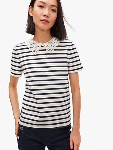 lace collar striped tee, , rr_productgrid