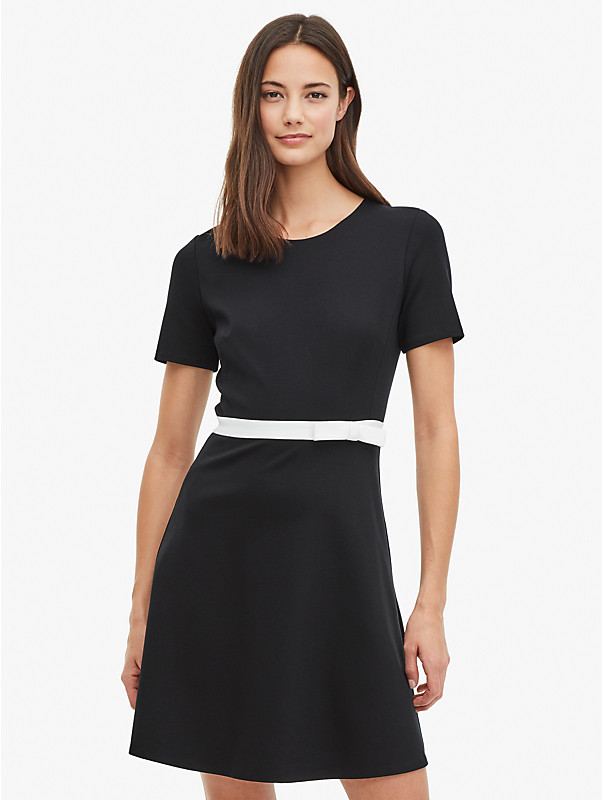 bow-waist ponte dress, , rr_large