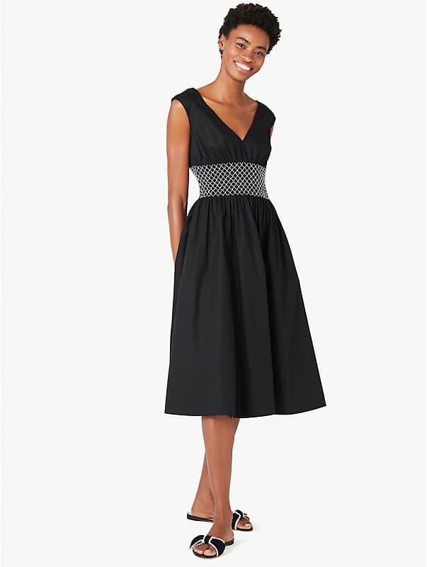 poplin v-neck dress, , rr_large