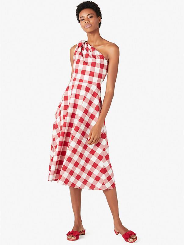 gingham one-shoulder dress, , rr_large