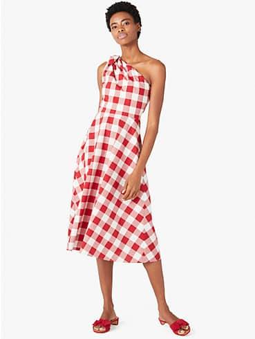 gingham one-shoulder dress, , rr_productgrid