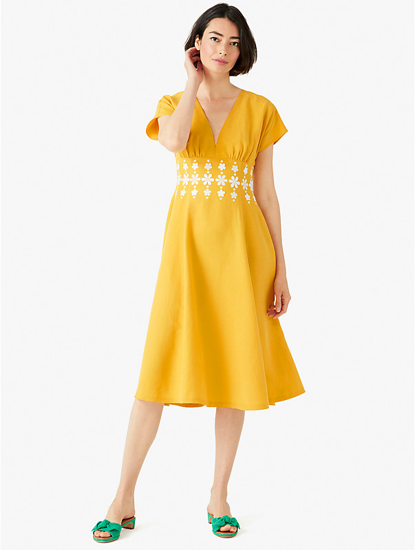 daisy embroidered fit-and-flare dress, , rr_large
