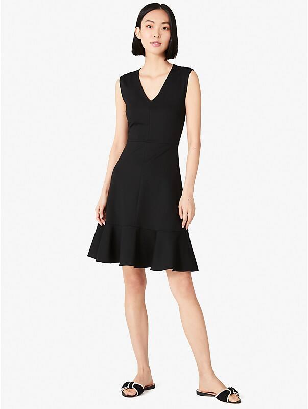 flounce hem ponte dress, , rr_large