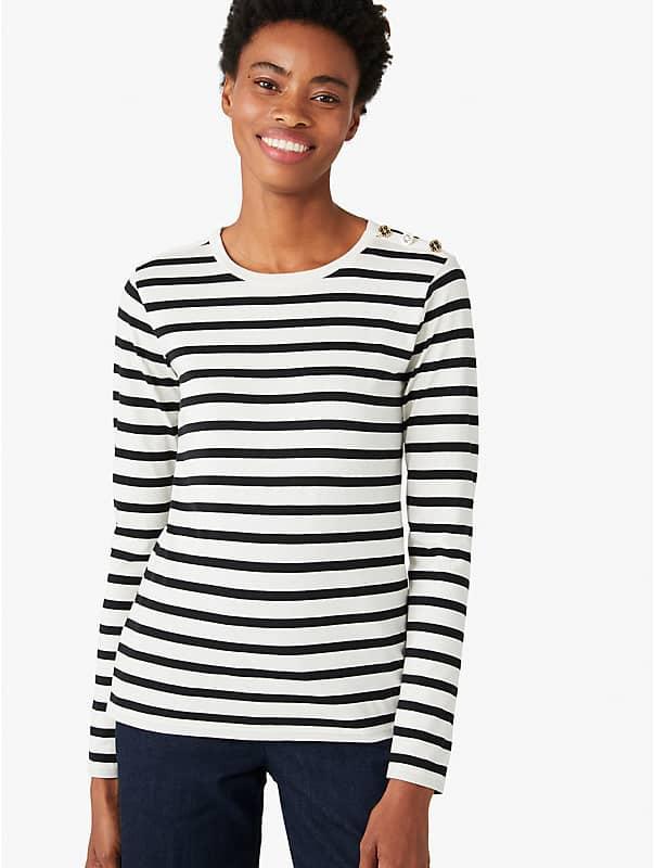 T-Shirt mit Streifen und Schulterknöpfen, , rr_large