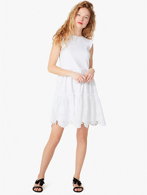 mixed-media broderie anglaise dress, , rr_large