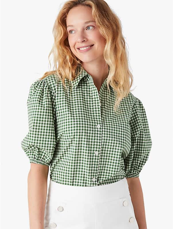 mini gingham button-front shirt, , rr_large