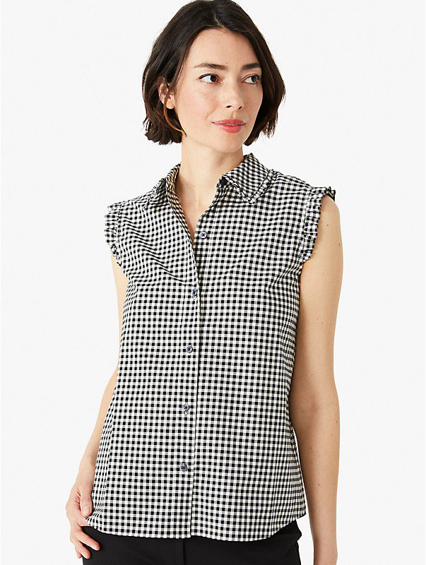mini gingham sleeveless top , , rr_large