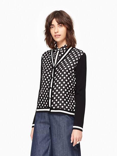 dot stripe cardigan, black/cream, large by kate spade new york