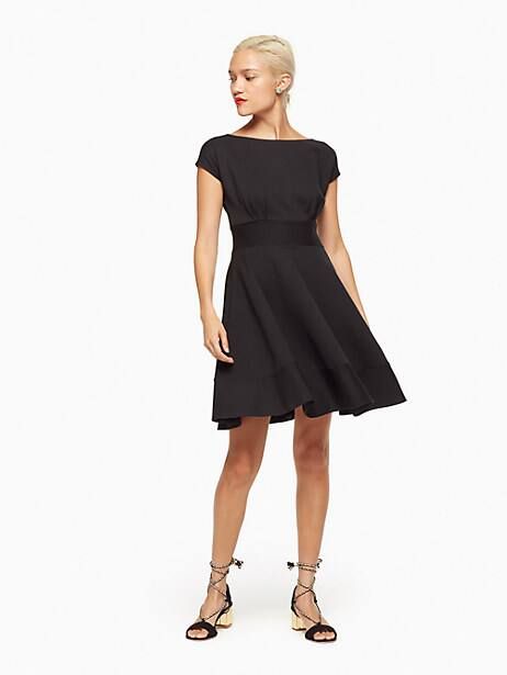 ponte fiorella dress, black, large by kate spade new york
