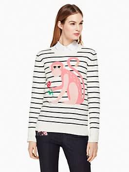 monkey sweater, cream multi, medium