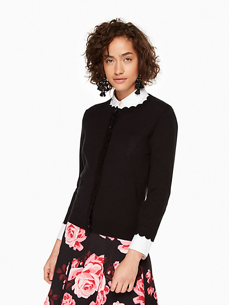 scallop cardigan, black, large by kate spade new york