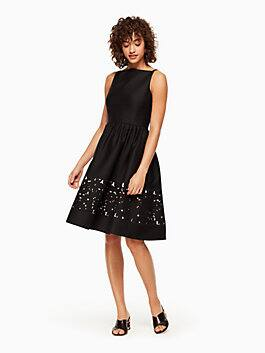 lace panel fit and flare dress, black, medium