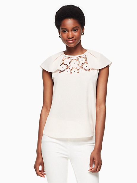 lace embroidered top, rose dew, large by kate spade new york
