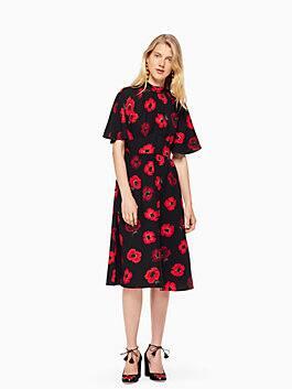 poppy flutter sleeve dress, black multi, medium