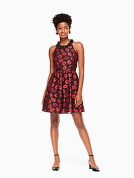 poppy jacquard dress, black multi, medium
